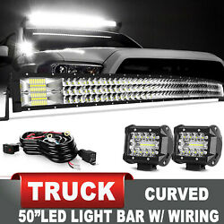 50 Tri-row Curved Led Light Bar Spot Flood Combo For Truck Boat Suv 4wd +wiring