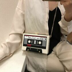 Tape Recorder Shoulder Bags Cute Funny Cartoon Leather Chain Crossbody Clutches $29.99