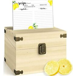 Zen Earth Kitchen Large Recipe Box Handcrafted Pine Wood +100 Lemon Cards, Andamp