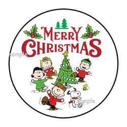 30 Merry Christmas Envelope Seals Labels Stickers 1.5 Round