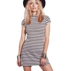 FREE PEOPLE BEACH On The Line Gray Striped Dress $35.00