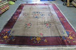 Antique Art Deco Chinese Rug 8'9 X 11'3 Hand Knotted Wool 1940's Ornamental