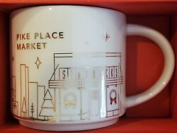2014 Starbucks You Are Here Pike Place Market Gold Christmas Mug Cup New In Box