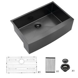 30 Inch Farmhouse Kitchen Sink Gunmetal Black Apron Front Farm Sinks 16 Gauge