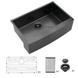 Lordear 33x21 Inch Farmhouse Apron Kitchen Sink Stainless Steel Gunmetal Black