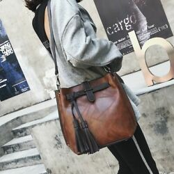 Vintage Fashion Black Bucket Bags For Women Leather Large Capacity Messenger Bag $46.99