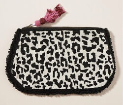 Anthropologie Harrison Beaded Embellished Pouch Clutch Purse Cheetah Leopard Nwt