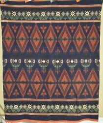 Vintage 30's Beacon Mills Camp Blanket Great Ombre Colors And Indian Design