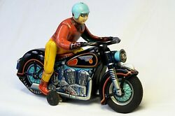 Modern Toys 1950's Expert Motor Cyclist + Box Includes A Video Of Toy Working