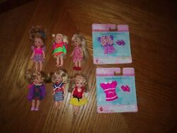 Lot Of 5 Vintage Kelly Barbie Dolls - All Dressed And 2 Brand New Outfits