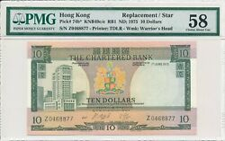 The Chartered Bank Hong Kong 10 1975 Replacement/star. Rare Date Pmg 58
