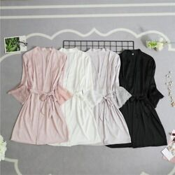 Brides Robes Sexy Lace Trim Bathrobes Dressing Gown Solid Short Night Silk Satin