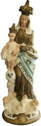 Antique Sculpture Religious Our Lady Of Victory Madonna Chalkware
