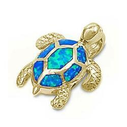 Yellow Gold Plated Blue Opal Sea Turtle Pendant .925 Sterling Silver