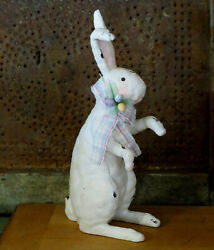 Grubby Primitive Well Loved Chalkware Stuffed Toy Look Easter Bunny W Eggs