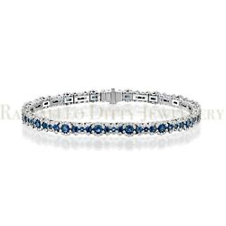7.5 Ct Huge Natural Real Sapphire And Diamond Tennis Bracelet 14k Yellow Gold 7.5