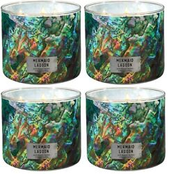Bath And Body Works Mermaid Lagoon 3-wick Scented Candle Lot Of 4 Pcs