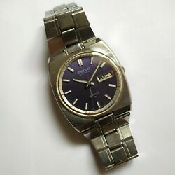 Vintage Seiko Automatic 7006-6000 19 Jewels Watch Mens Blue Dial 1970s