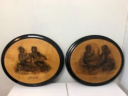 Pair 2 Antique Victorian Chimney Sweepers Pyrography Mahogany Wall Plaques 14andrdquo