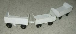 Vintage Lot Of 3 Tonka Extremely Rare White Trail Train Box Cars Trailer Hook