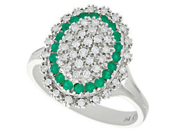 Vintage 0.72ct Diamond And 0.31ct Emerald 18k White Gold Dress Ring -