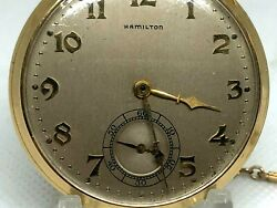 Vintage 1937 Hamilton 921 Pocket Watch 21j H6356 With Chain And Two Medallions