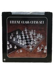 Deluxe Classic Glass Chess Set Deluxe Game Strategy Board Frosted Pieces