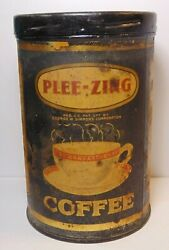 Old Vintage 1920s Plee Zing Coffee Tin Graphic 1 Pound Can St. Louis Missouri Mo
