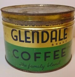 Old Vintage 1940s Glendale Coffee Keywind Coffee Tin Can 1 Pound Cleveland Ohio