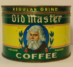 Old Vintage 1950s Old Master Old Man Graphic Coffee Tin One Pound Cleveland Ohio