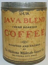 Old Vintage 1910s Java Blend Coffee Tin Graphic Tall 1 Pound Can Oklahoma City
