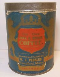 Old Vintage 1920s Peebles Coffee Tin Graphic 1 Pound Can Blandford Massachusetts