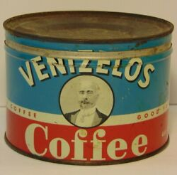 Old Vintage 1950s Venizelos Graphic Coffee Tin One Pound New York Made In Usa