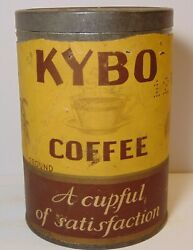 Rare Old Vintage 1920s Kybo Coffee Tin Graphic One 1 Pound Can Norfolk Virginia