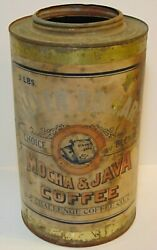 Large Rare Old Vintage 1910s Silver Dollar Coffee 3 Pound Graphic Coffee Tin