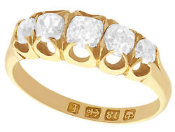 Antique Victorian 0.78ct Diamond And 18k Yellow Gold Five Stone Ring - Size 5.125