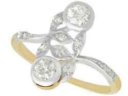 Antique Austrian 0.60 Ct Diamond And 14k Yellow Gold Silver Set Dress Ring 6.25