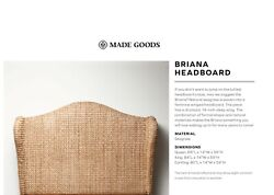 Queen Headboard By Made Goods Briana Natural Woven Seagrass