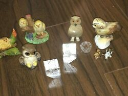 Collection Of Small Owl Figures And Figurines, Crystal Too