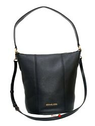 Michael Kors Brooke Medium Bucket Messenger Leather Crossbody Hobo Bag Black $98.86