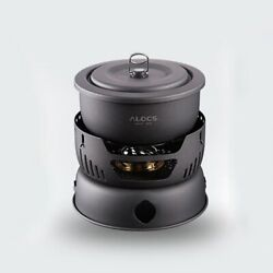 Camping Alcohol Stove Cook Set Outdoor Hiking Picnic Stoves With Gripper Pot New