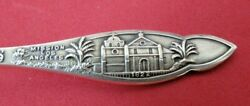 Sterling Silver Ornate Old Mission Los Angeles California Souvenir Spoon 5 1/2