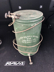 Antique Oliver Oil And Gas Burner Can Holder Tractor Farm St Louis Mo Tin