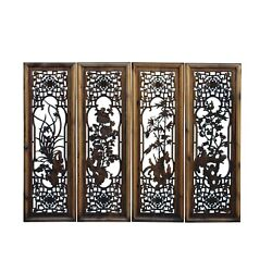 Chinese Set Vintage Distressed 4 Seasons Flower Wooden Wall Plaque Panels Cs6042