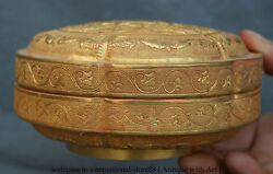 6 Chinese Dynasty Palace Copper Gild Gilt Sika Deer Flower Jewelry Jewelry Box