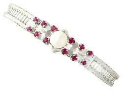 Pearl And 0.54ct Ruby 15ct White Gold Bracelet Vintage Circa 1970