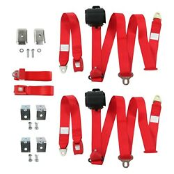 For Chevy Camaro 82-92 3-point Standard Buckle Retractable Bench Seat Belts With