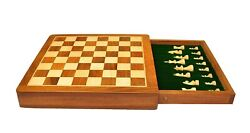 10 Inches Best Drawer Wooden Handmade Chess Set Board With Magnetic Pieces Set.