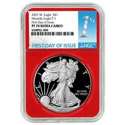 2021-w Proof 1 Type 1 American Silver Eagle Ngc Pf70uc Fdi First Label Red Core