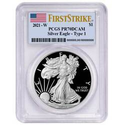 2021-w Proof 1 Type 1 American Silver Eagle Pcgs Pr70dcam First Strike Flag Lab